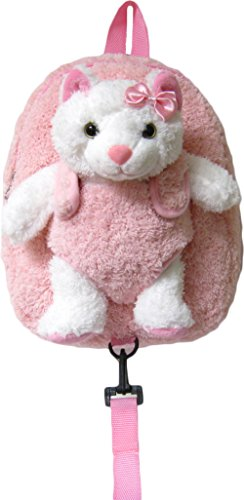 Children's Safety Harness Backpack with Removable Plush Animal (Pink Cat)