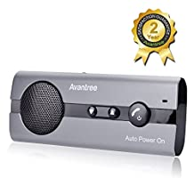 [2 Year Warranty] Avantree Bluetooth Hands-Free Car Kit AUTO POWER ON Visor with Motion Sensor, Support GPS, Music, Handsfree Speakerphone for Mobile Phones