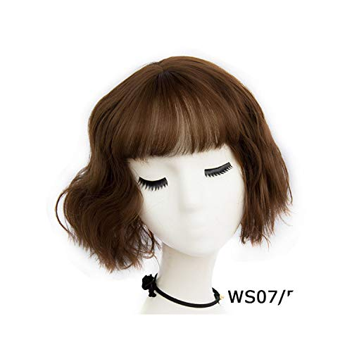 Sheep Store 43 Colors Synthetic Short Wavy Bob Wigs Womens Brown Black Blonde Natural Hair Wigs Female Heat Resistant Fiber,Ws 07 F5,14Inches -