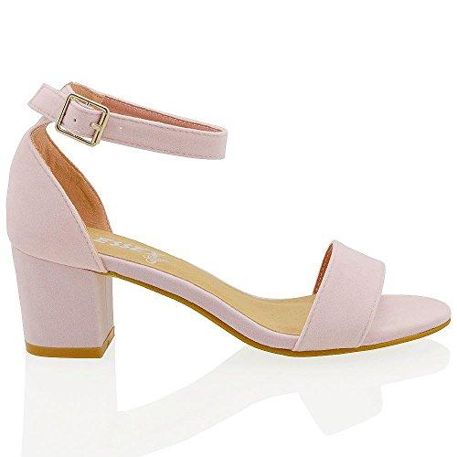 Basso Essex alla Ecopelle Donna Scamosciata Cinturino Rosa Tacco Medio Luce con Caviglia Glam Sintetico Sandalo zYTOY