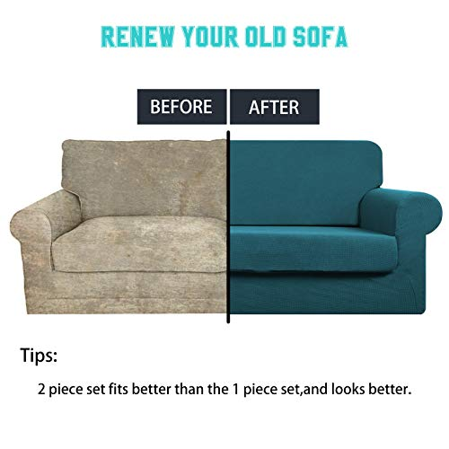 Large Sofa Cover with Separate Seat Cushion Cover(2 Pieces Set) - Water Repellent,Knitted Jacquard,High Stretch - Living Room Couch Slipcover/Protector/Shield for Dog Cat Pets(4 Seater Sofa,Teal) by DEZENE (Image #3)