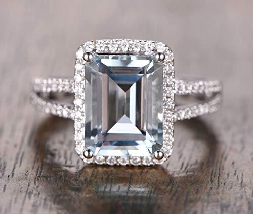 - Emerald Cut Aquamarine Engagement Ring Diamond Split Shank 14K White Gold 10x12mm