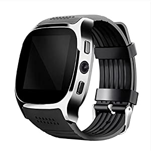 SHENGMO T8M Bluetooth heart rate smart watch for men and women for blood pressure monitoring fitness tracker Pedometer Calorie Counter Sleep monitor (black)