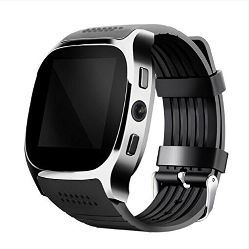 T8 Smartwatch Bluetooth Smart Watch With Camera Support LBS Positioning Pedometer/Music Player/Facebook/Whatsapp Sync SMS Support SIM TF Card For Android Samsung S8 Iphone 5/5S/6/6S/7/7 PLUS (black)