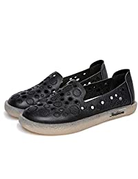 Women Flat Shoes Round Closed Toe 2cm/0.78'' Heel Genuine Leather Upper Round Hollow Out Decoration Soft Anti-wear Sole Shallow Mouth (Color : Black, Size : 5.5 M US)