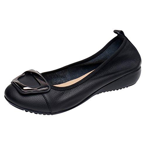 Zeppa Vera Ballerine Morbida Pantofole Basso Tacco Scarpe Donna Comfort Nero Pelle a Jamron Suola PAfq5C