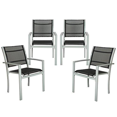 TecTake derailleur – Lot de 4 chaises de Jardin Jardin en métal avec accoudoirs Grey | No. 402067