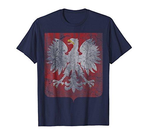 Mens Vintage Poland T-Shirt Coat of Arms Polska Polish Shirt Large Navy Polish Family Coat Arms