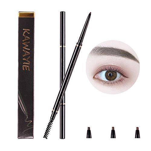 KAWAYIE Eyebrow Definer Pencil 2 Packs, Waterproof Brow Pencil Stylist Definer with Brush, Automatic Makeup Cosmetic (Dark ()