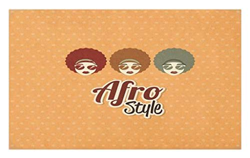 Lunarable Black Woman Doormat, Sunglasses African American Culture Elements with Interesting Hairlines Vintage, Decorative Polyester Floor Mat with Non-Skid Backing, 30 W X 18 L Inches, ()
