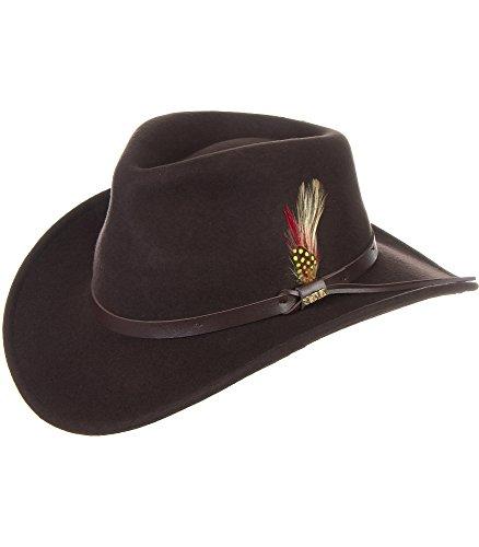 Overland Sheepskin Co Billings Crushable Wool Waterproof Cowboy (Genuine Leather Cowboy Hat)
