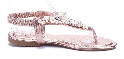 Schuhtempel24 Damen Schuhe Zehentrenner Sandalen Sandaletten Silber Flach Ziersteine rH0wLpcVR