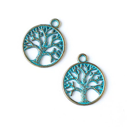 Cherry Blossom Beads 20x24mm Green Bronze Colored Pewter Tree of Life Charm - 10 per bag