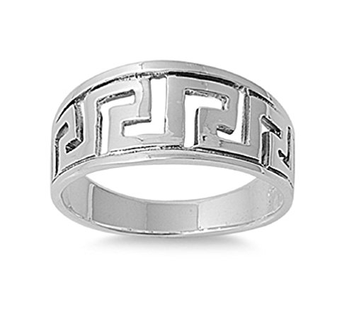 925 Sterling Silver Aztec Design Ring Size 6