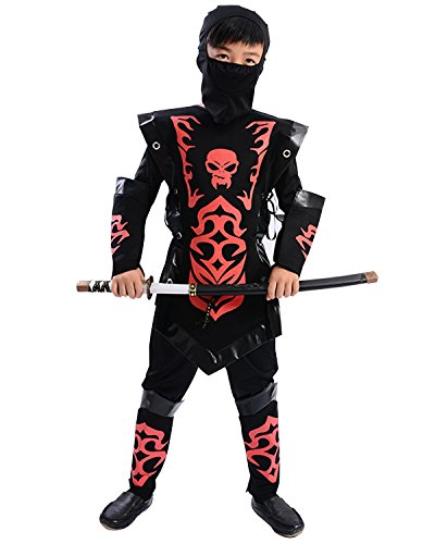 Kunoichi Costume (Child Halloween Skeleton Skull Costume Japanese Ninja Warrior Cosplay Suit Outfit (Small(110-120CM), Red))