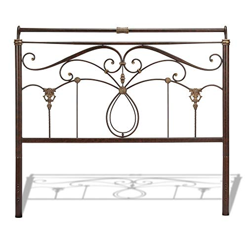 Leggett & Platt Lucinda Metal Headboard Panel with Intricate Scrollwork and Sleigh-Styled Top Rail, Marbled Russet Finish, Queen ()