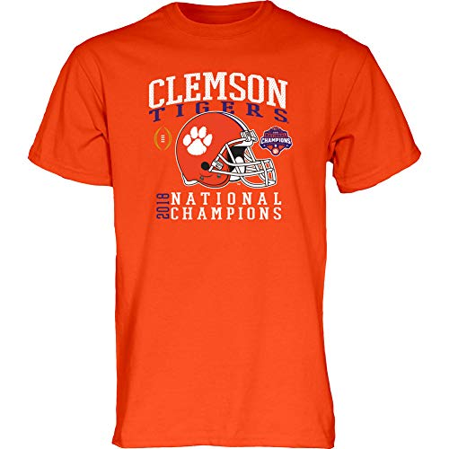 Elite Fan Shop Clemson Tigers Champs Tshirt 2018-2019 Helmet Orange - XL