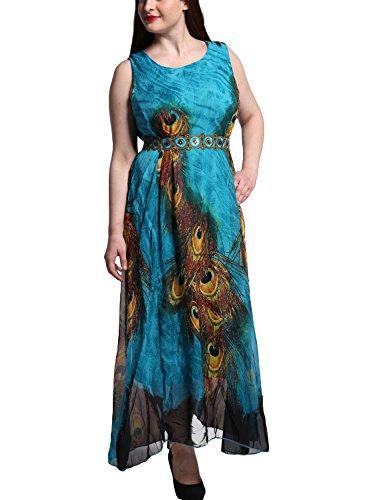 Feoya - Femme Robe de plage Eté Imprimé Paon à Motif Robe Bohème Maxi Sans Manches en Mousseline avec une ceinture Pour Femme - Taille M/9XL