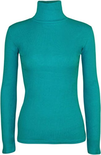 Turquoise Polo Dress - Ladies Long Sleeve Polo Roll Neck Jumper Top Womens Turtle Neck Plain Jumper#(Turquoise Polo Neck Plain Jumper#US 10-12#Womens)