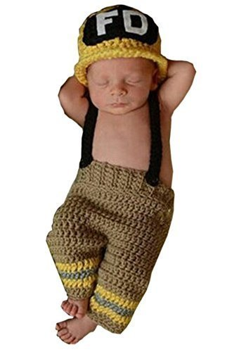 Eyourhappy Newborn Baby Photography Props Costume Handmade Crochet Knit Fireman Caps Pants (Yellow)