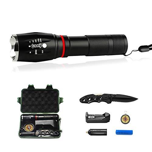 Super Bright Flashlight, 5 Light Modes(COB Work Light), Magnet,Water Resistant Torch, Zoomable for Camping Hiking