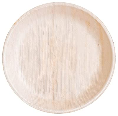 Palm Leaf Plates - Natural 100% Compostable - Only Selective White Fallen Areca Leaves - Disposable Party Plates - For Wedding and Birthday - Perfect for Home and Catering - Eco-Friendly