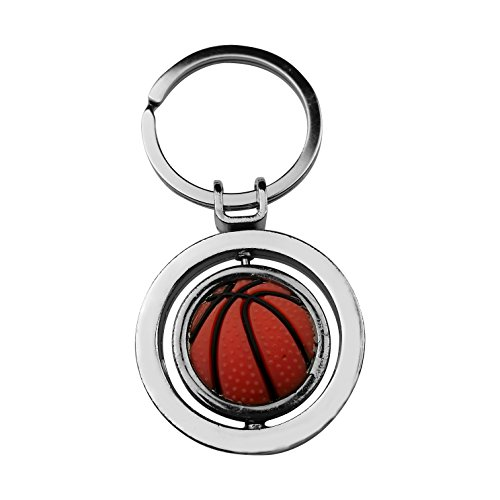 Art Attack Silvertone Rotating Basketball BBall Hoops Sport Swivel Bag Charm Pendant (1979 College Basketball)