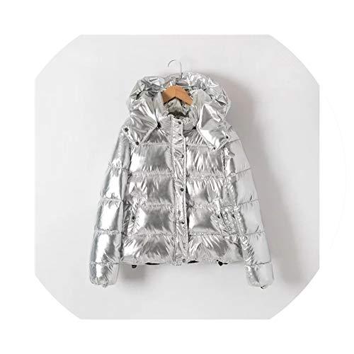 Women Coat Metal Ladies Parka Fashion Winter Warm Coat Dames Abrigos Mujer,Silver,M