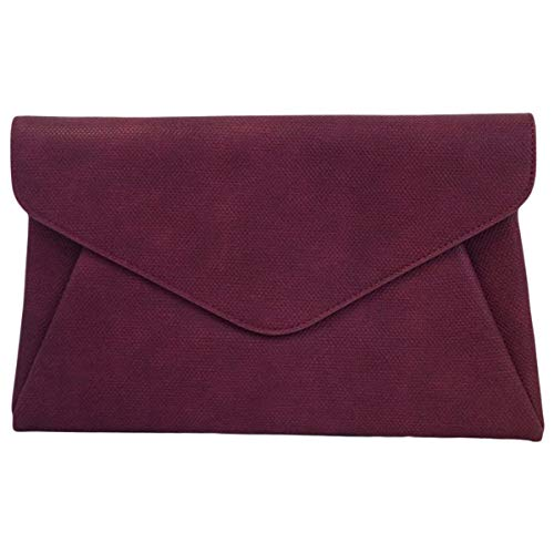 Burgundy Clutch - Synthetic Leather Double Pocket Envelop Clutch, Burgundy