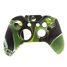 XBOX_Accessories_ 2 PCS Mushroom Caps and 2 PCS Black Thumb Stick Grips and Silicone Case for XBOX ONE(Army Green)