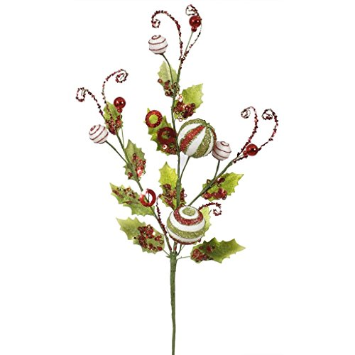 Vickerman Peppermint Holly Spray, 22-Inch, Red, White, Lime
