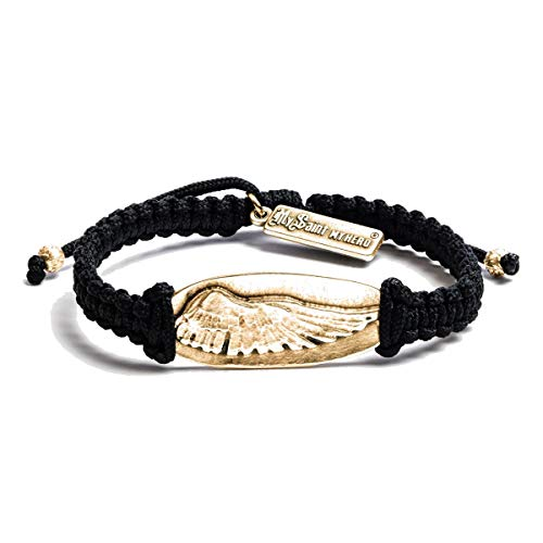 (My Saint My Hero Guardian Angel Wing of Protection Bracelet - Gold-Tone on Black Cord)