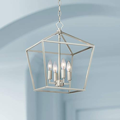 """Queluz Brushed Nickel Cage Foyer Pendant Chandelier 13"""" Wide Geometric Frame 4-Light Fixture for Dining Room House Foyer Kitchen Island Entryway Bedroom Living Room - Franklin Iron Works"""