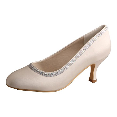 Wedopus MW125A Women's Satin Sequined Round Toe Prom Pumps Mid Heel Bridal Shoes HlYskX