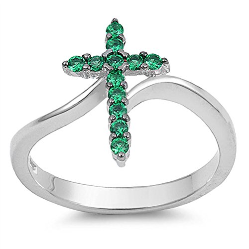 Cross Simulated Emerald Christian Love Ring New .925 Sterling Silver Band Size 8