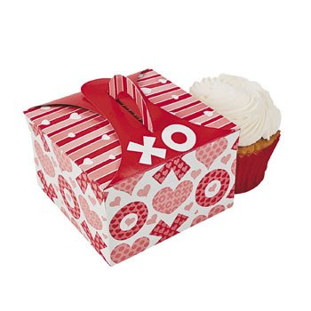 Valentine's XOXO Party Cupcake Boxes with Paper Inserts (1 Dozen)