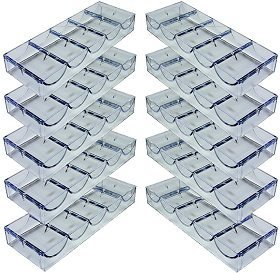 Set of 10 Acrylic Stackable 100-Chip Poker Chip Trays / Racks by Da Vinci