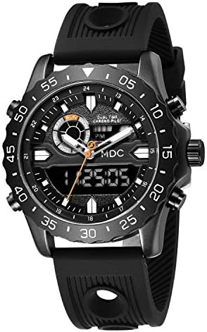 Big Face Military Tactical Watch for Men, Mens Outdoor Sport Wrist Watch, Large Analog Digital Watch - Dual Display Japanese Movement, Heavy Duty Stainless Steel Case, 3ATM Water Resistant