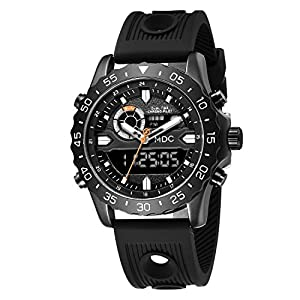 Big Face Military Tactical Watch for Men, Black Mens Outdoor Sport Wrist Watch, Large Analog Digital Watch – Dual Display Japanese Movement, Heavy Duty Stainless Steel Case, 3ATM Water Resistant