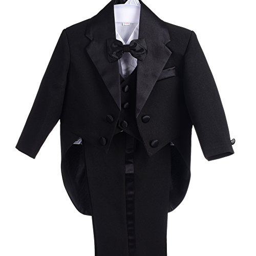 Dressy Daisy Baby-Boys' Classic Tuxedo With Tail 5pc Set Wedding Outfits Size 12 Months Black by Dressy Daisy