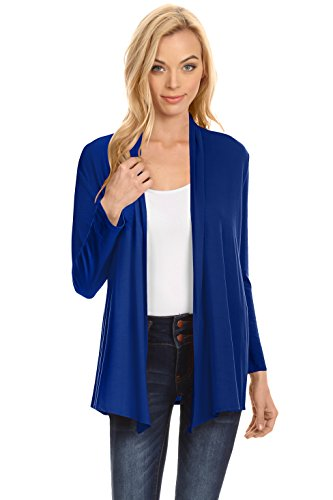 (Blue Womens Cardigans Open Front)