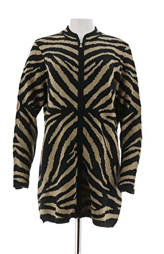 Dennis Basso Zebra Jacquard Zip Front Cardigan Black Wheat S New A278700
