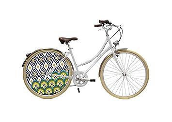 ECOVELO Bicicleta Tapacubo Rueda ciudad personalizado 28 VTC blanco adulto mujer, ...