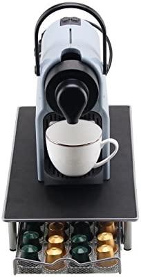 Dispensador Capsulas Nespresso-40/60 Piezas Café 360 Grados Giratorio Cápsulas-Cromo Plateado Elegante con Acero Inoxidable (Cajón-40 piezas)
