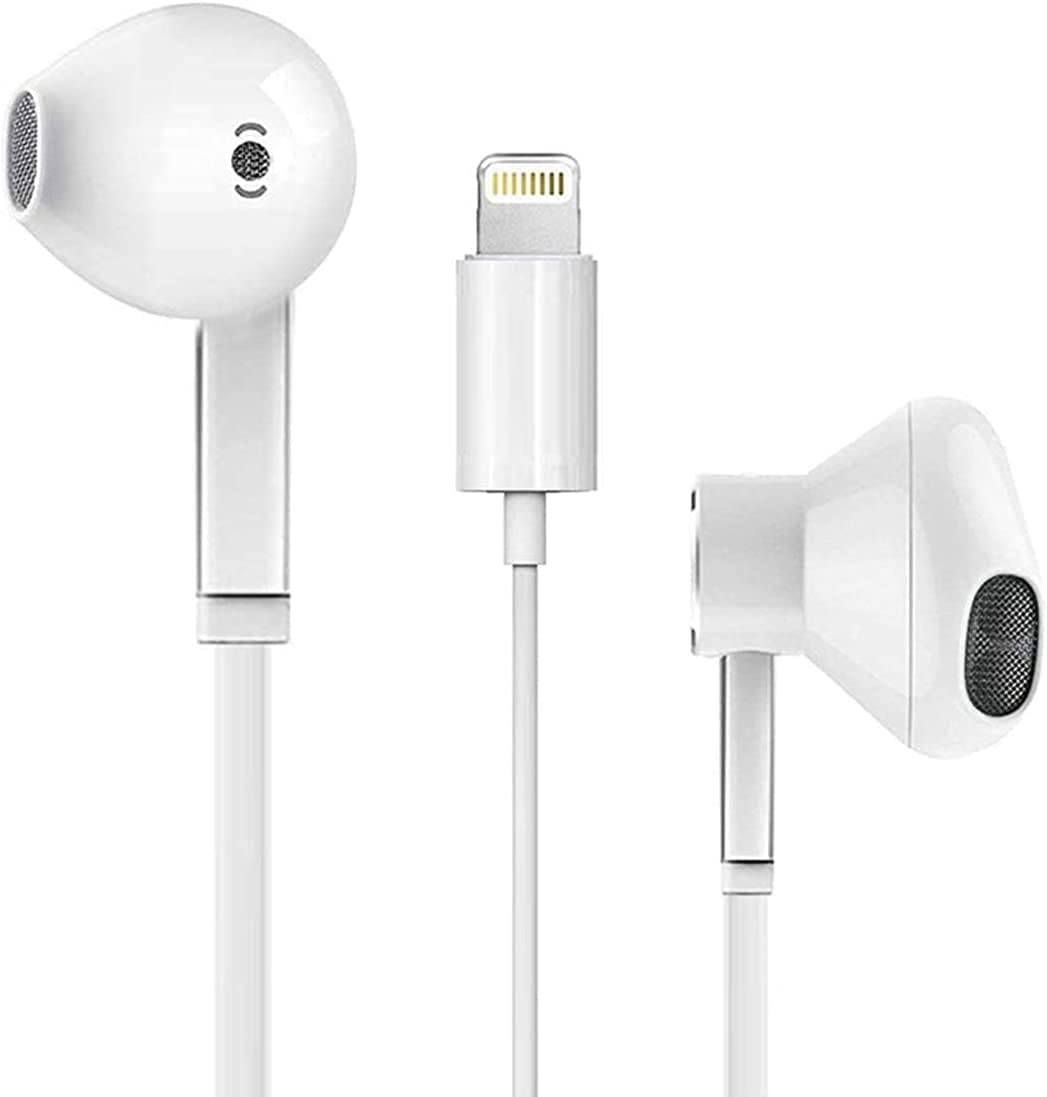 Earbuds/Headphone with Lightning Connector(Built-in Microphone & Volume Control) in-Ear Stereo Headphones Headset Compatible with iPhone 12/SE/11/X/8 7/8 7 Plus - All iOS System[Apple MFi Certified]