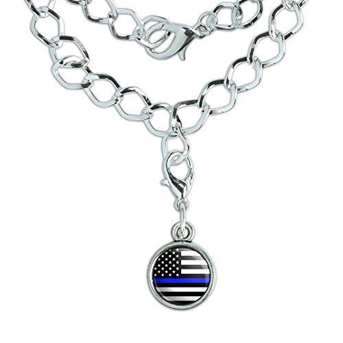 Graphics and More Thin Blue Line American Flag Silver Plated Bracelet with Antiqued Charm