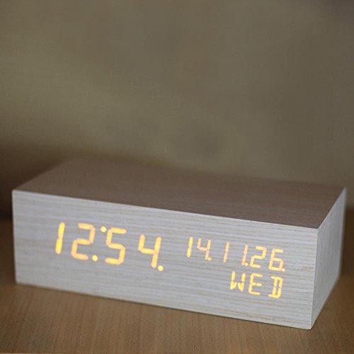 Toll KHSKX LED Uhr, Kreative Holz Uhren, Elektronische Leuchtende  Thermometer, Rechteckig, Büro