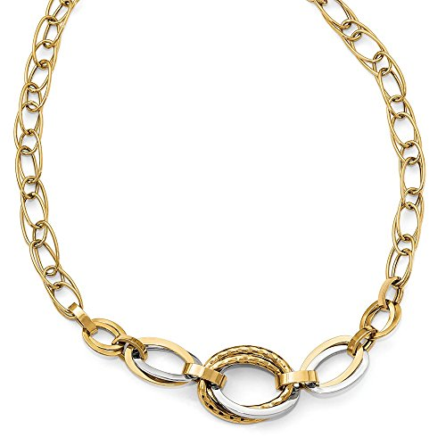 14k Two-Tone Gold Polished & Hammered Oval Link Necklace, 18 Inch