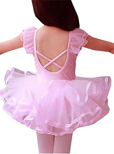 [CM-Cute Little Girls Ballet Flutter Sleeve Bow Tulle Dance Costume Tutu Dresses] (Little Pig Costumes)
