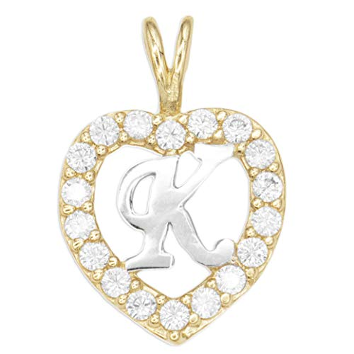 Set Pave 10k Gold - Ice on Fire Jewelry 10k Solid Gold Initial Charm Set with CZ Stones, Heart Pendant with Initial Available in Different Letters (K)